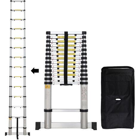 Escalera Plegable, Escalera Telescópica, 4,1 Metro(s), EN 131-6, Barra estabilizadora, Bolsa de transporte GRATIS, Brecha extra, Carga máxima: 150 kg