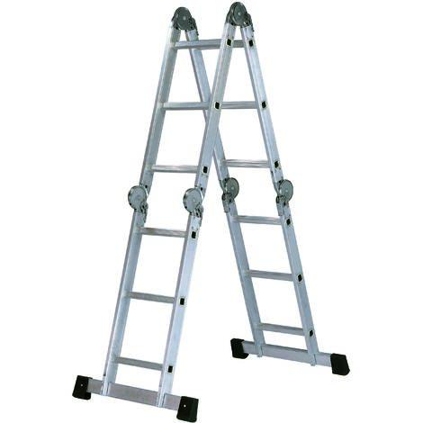 Escalera Profesional Articulada MULTIPOSICIONES de Aluminio 3 X 4 peldaños