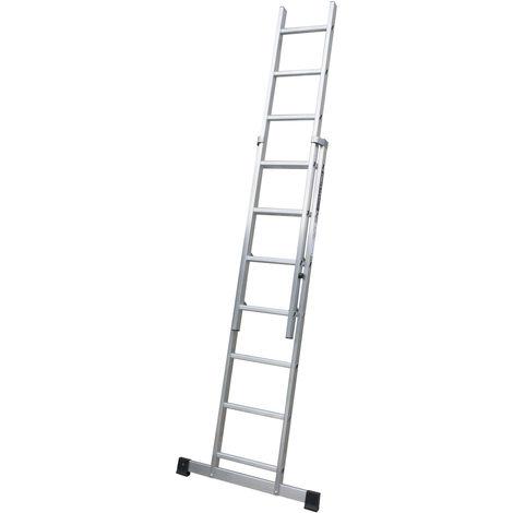 Escalera profesional de Aluminio de apoyo extensible con barra estabiliadora SERIE TOP 2 x 7 peldaños