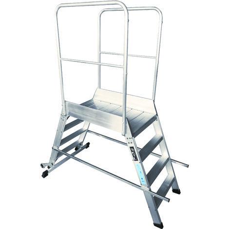 Escalera profesional de Aluminio móvil dos accesos con plataforma de trabajo 60x60 de 4 peldaños SERIE STORE 2 ACCESOS ALMACÉN