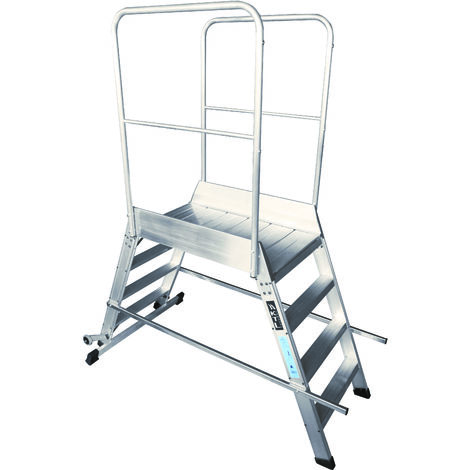 Escalera profesional de Aluminio móvil dos accesos con plataforma de trabajo 60x60 de 6 peldaños SERIE STORE 2 ACCESOS ALMACÉN