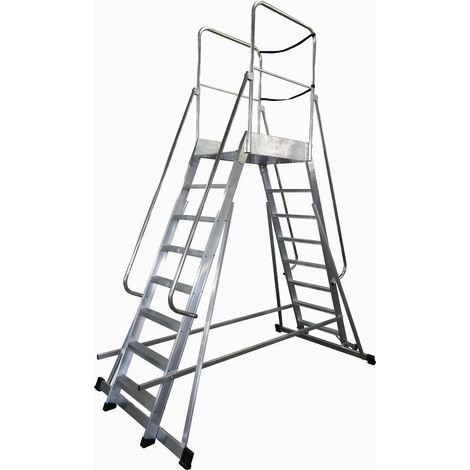 Escalera profesional de Aluminio móvil dos accesos con plataforma de trabajo 60x60 de 8 peldaños SERIE STORE 2 ACCESOS ALMACÉN