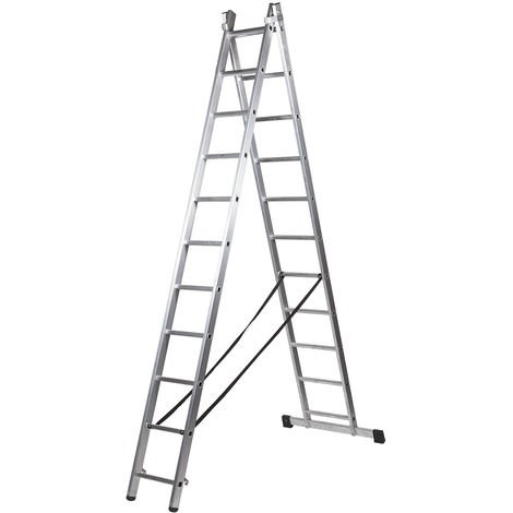 Escalera profesional de Aluminio transformable apoyo-tijera con base un acceso SERIE BIS 2 x 11 peldaños