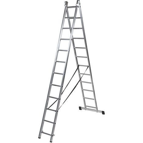 Escalera profesional de Aluminio transformable apoyo-tijera con base un acceso SERIE BIS 2 x 12 peldaños