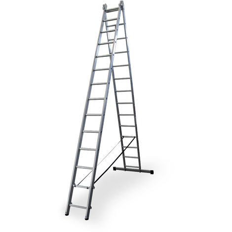 Escalera profesional de Aluminio transformable apoyo-tijera con base un acceso SERIE BIS 2 x 14 peldaños
