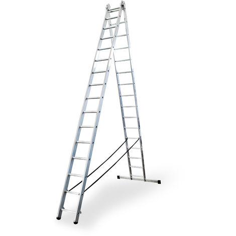 Escalera profesional de Aluminio transformable apoyo-tijera con base un acceso SERIE BIS 2 x 16 peldaños