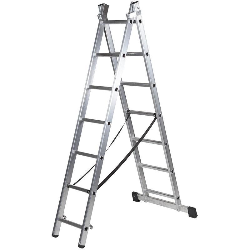 ALTIPESA Escalera Profesional de Aluminio transformable Apoyo-Tijera con Base un Acceso 2 x 9 pelda/ños Serie bis