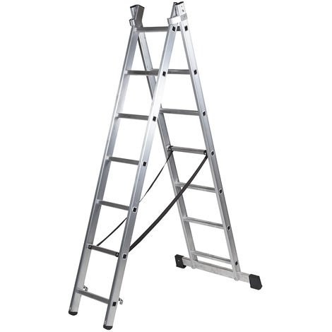Escalera profesional de Aluminio transformable apoyo-tijera con base un acceso SERIE BIS 2 x 7 peldaños