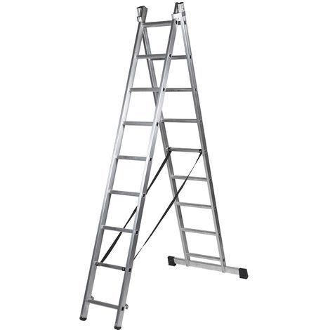 Escalera profesional de Aluminio transformable apoyo-tijera con base un acceso SERIE BIS 2 x 9 peldaños