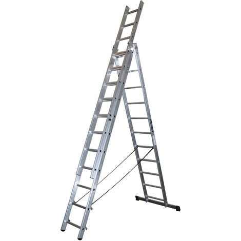Escalera profesional de Aluminio triple tijera un acceso con tramo extensible SERIE TRIPLE 3 x 11 peldaños