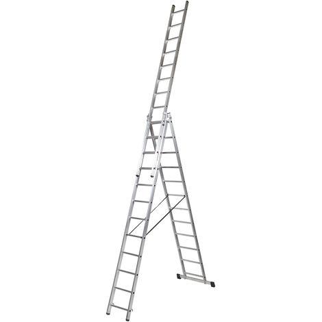 Escalera profesional de Aluminio triple tijera un acceso con tramo extensible SERIE TRIPLE 3 x 12 peldaños