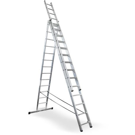 Escalera profesional de Aluminio triple tijera un acceso con tramo extensible SERIE TRIPLE 3 x 14 peldaños