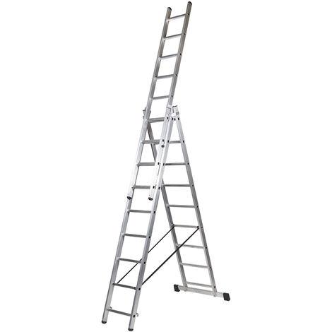 Escalera profesional de Aluminio triple tijera un acceso con tramo extensible SERIE TRIPLE 3 x 9 peldaños