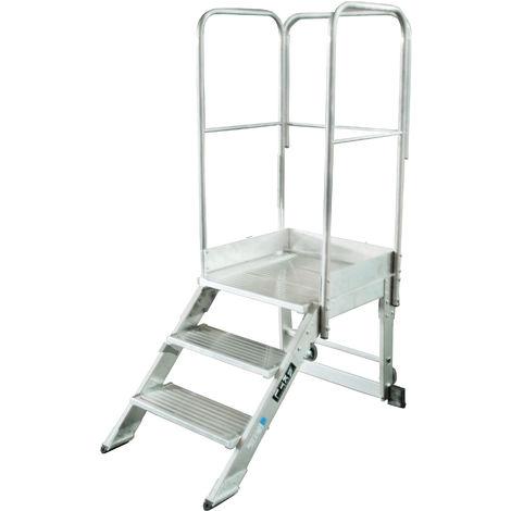 Escalera profesional de Aluminio un acceso con plataforma de trabajo 3 peldaños 60x60 SERIE NEW 45º