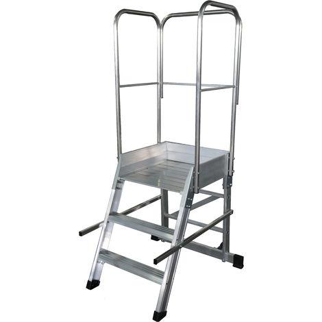 Escalera profesional de Aluminio un acceso con plataforma de trabajo 3 peldaños 60x60 SERIE STORE 68º ALMACÉN