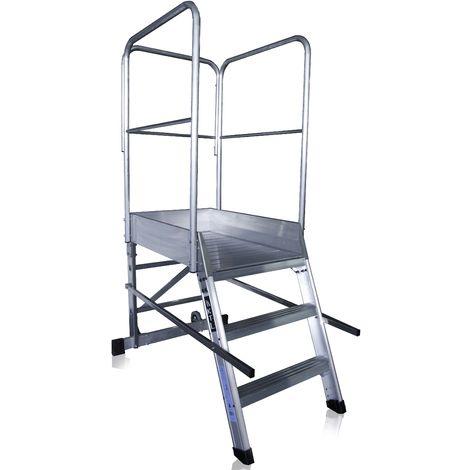 Escalera profesional de Aluminio un acceso con plataforma de trabajo 3 peldaños 60x90 SERIE STORE 68º ALMACÉN