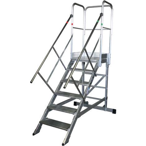 Escalera profesional de Aluminio un acceso con plataforma de trabajo 4 peldaños 60x60 SERIE NEW 45º