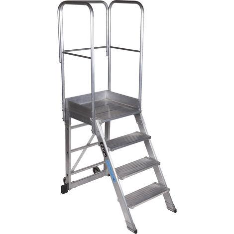 Escalera profesional de Aluminio un acceso con plataforma de trabajo 4 peldaños 60x60 SERIE NEW 60º