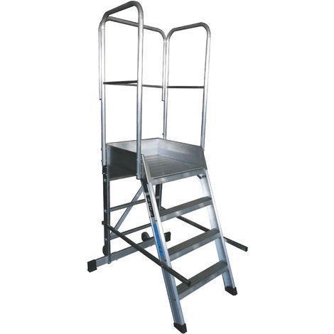 Escalera profesional de Aluminio un acceso con plataforma de trabajo 4 peldaños 60x60 SERIE STORE 68º ALMACÉN