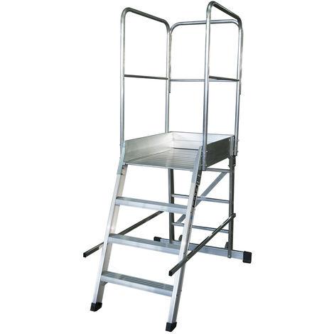 Escalera profesional de Aluminio un acceso con plataforma de trabajo 4 peldaños 60x90 SERIE STORE 68º ALMACÉN