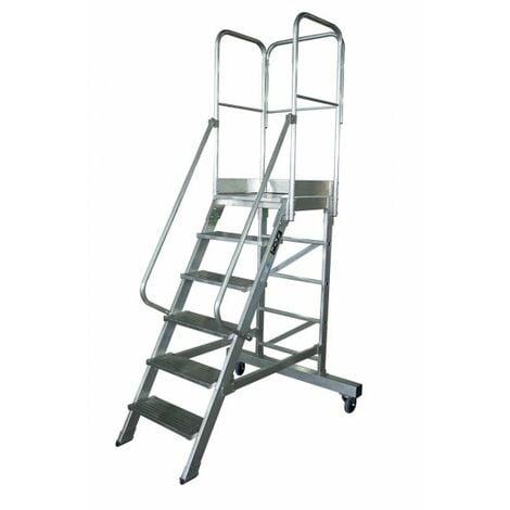 Escalera profesional de Aluminio un acceso con plataforma de trabajo 5 peldaños 60x60 SERIE NEW 60º