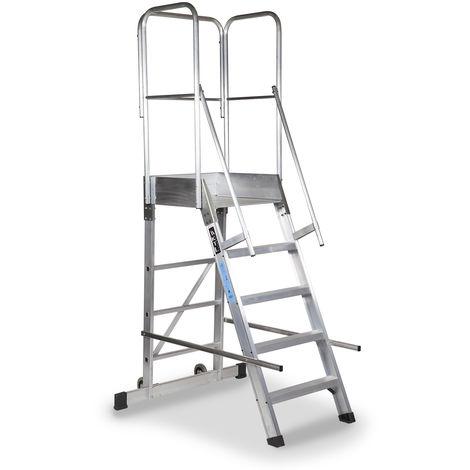 Escalera profesional de Aluminio un acceso con plataforma de trabajo 5 peldaños 60x60 SERIE STORE 68º ALMACÉN