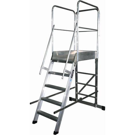 Escalera profesional de Aluminio un acceso con plataforma de trabajo 5 peldaños 60x90 SERIE STORE 68º ALMACÉN