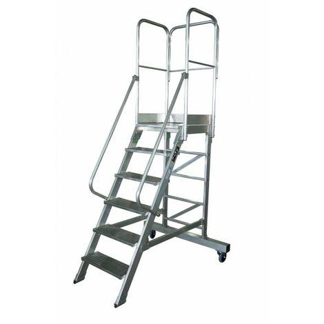 Escalera profesional de Aluminio un acceso con plataforma de trabajo 6 peldaños 60x60 SERIE NEW 60º