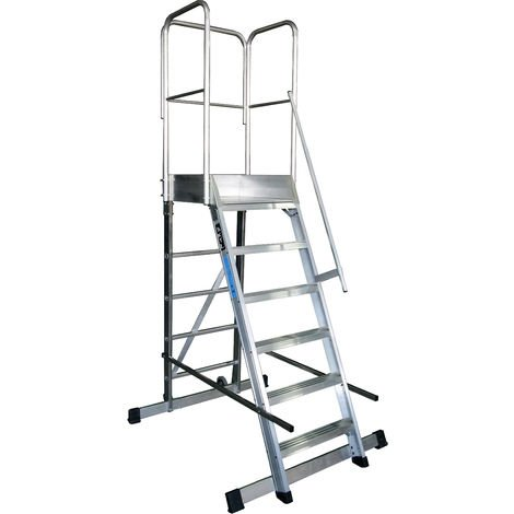 Escalera profesional de Aluminio un acceso con plataforma de trabajo 6 peldaños 60x60 SERIE STORE 68º ALMACÉN