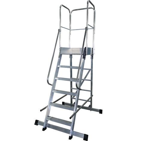 Escalera profesional de Aluminio un acceso con plataforma de trabajo 6 peldaños 60x90 SERIE STORE 68º ALMACÉN