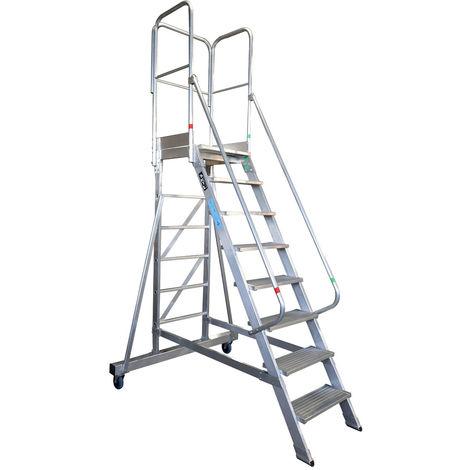 Escalera profesional de Aluminio un acceso con plataforma de trabajo 8 peldaños 60x60 SERIE NEW 60º
