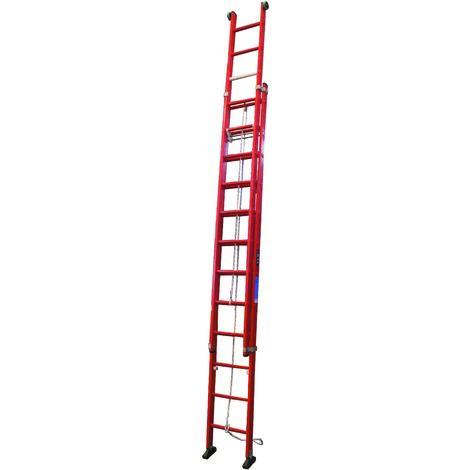 Escalera profesional de Fibra de apoyo doble extensión mecánica 2 x 12 peldaños SERIE JOB