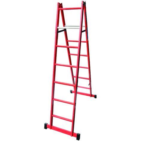 Escalera profesional de Fibra de tijera doble acceso 2 x 7 peldaños sin asa SERIE TOWER