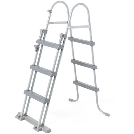 Escalera simétrica sobre suelo con 3 peldaños para piscinas de hasta 107 cm de altura, accesorio para piscinas