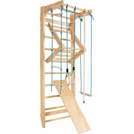 Escalera Sueca Barras de Pared 80x60x220cm Madera Espaldera para Gimnasio Fitness Casa Deportiva Carga hasta 150kg