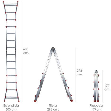 Escalera Telescópica Aluminio 6+6 Peldaños Perfil 67 mm - NEOFERR..