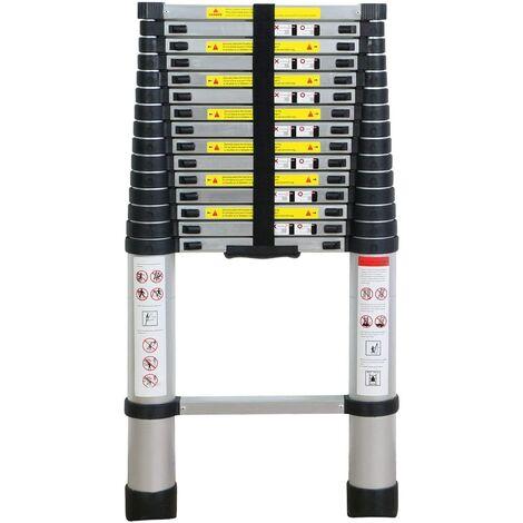 Escalera telescópica de aluminio de 4,7 m con 15 peldaños y longitud máxima de 470 cm, capacidad de carga de 150 kg