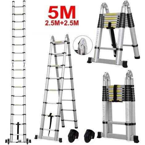 Escalera telescópica de aluminio de 5 m Escalera plegable telescópica, escalera Escalera extensible Escalera multiusos 16 escalones, 150 kg de capacidad de carga