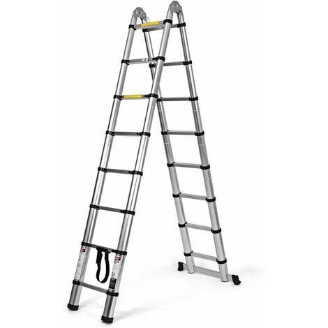Escalera Telescópica de Aluminio Escalera Alta Portátil para Hogar Oficina Exterior (5 metros)
