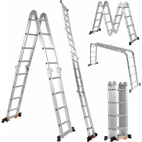 Escalera Telescópica de Aluminio Escalera Plegable Multifuncional Carga hasta 150 kg Longitud Total de 4,7 m para Hogar Oficina Exterior