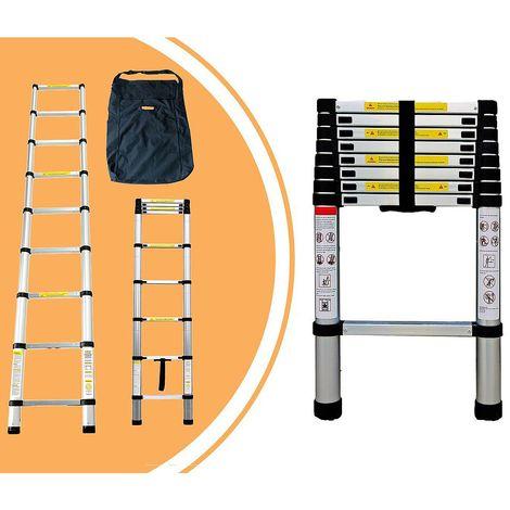 Escalera Telescópica, Escalera Plegable, 2,6 Metro(s), Bolsa de transporte GRATIS, EN 131, Carga máxima: 150 kg
