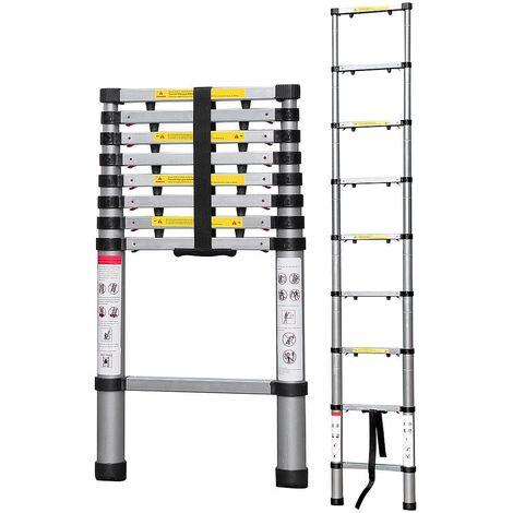 Escalera Telescópica, Escalera Plegable, 2,6 Metro(s), EN 131-6, Brecha extra, Bolsa de transporte GRATIS, Carga máxima: 150 kg