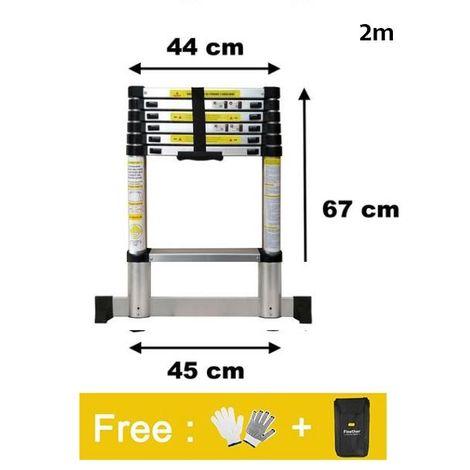 Escalera Telescópica, Escalera Plegable 2M,Bolsa de transporte GRATIS, Carga máxima: 150 kg