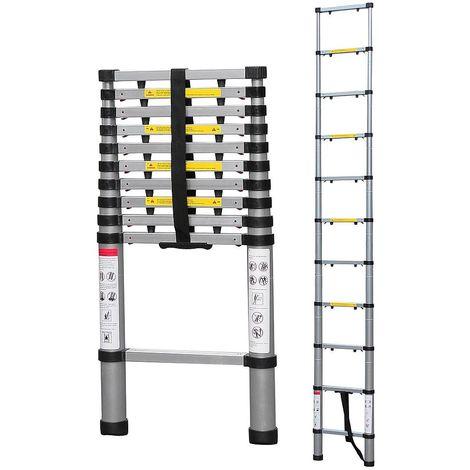 Escalera Telescópica, Escalera Plegable, 3,2 Metro(s), Brecha extra, EN 131-6, Bolsa de transporte GRATIS, Carga máxima: 150 kg