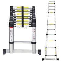 Escalera Telescópica, Escalera Plegable, 3,8 Metro(s), Barra estabilizadora, Bolsa de transporte GRATIS, EN 131, Carga máxima: 150 kg