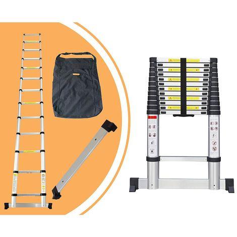 Escalera Telescópica, Escalera Plegable, 3,8 Metro(s), Bolsa de transporte GRATIS, Barra estabilizadora, EN 131, Carga máxima: 150 kg