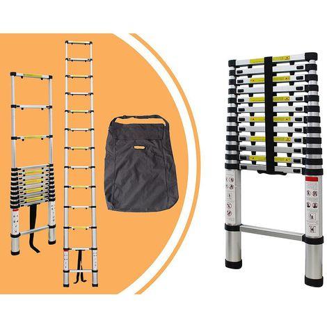 Escalera Telescópica, Escalera Plegable, 3,8 Metro(s), Bolsa de transporte GRATIS, Brecha extra, EN 131, Carga máxima: 150 kg