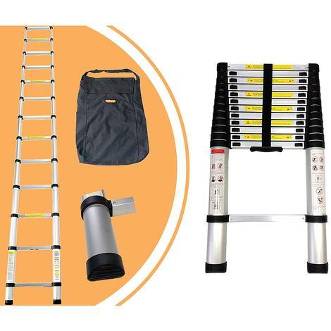 Escalera Telescópica, Escalera Plegable, 3,8 Metro(s), Bolsa de transporte GRATIS, EN 131, Carga máxima: 150 kg