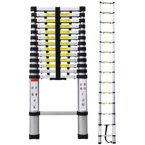 Escalera Telescópica, Escalera Plegable, 4,1 Metro(s), Bolsa de transporte GRATIS, EN 131-6, Brecha extra, Carga máxima: 150 kg