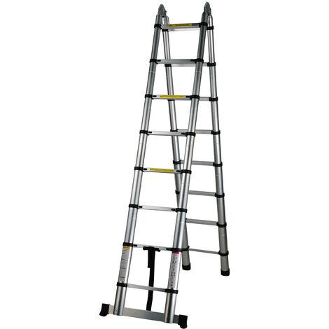 Escalera telescopica multi-uso extension telescopica escaleras portatiles Escalera extensible retractil de aluminio plegable con un boton que dobla e 330 libras de capacidad, 4 pasos